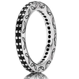 Pandora Silver Eternity Ring with black crystals